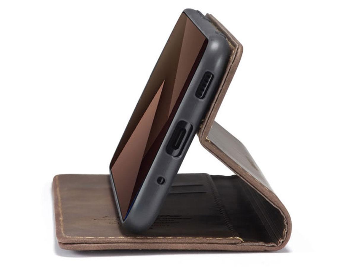 CaseMe Vintage BookCase Coffee - Samsung Galaxy S20 hoesje