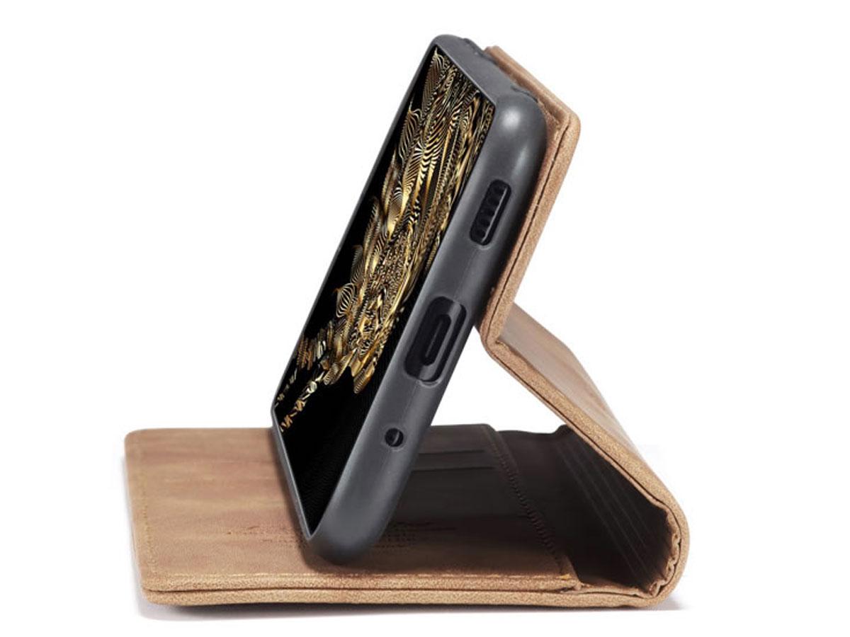 CaseMe Vintage BookCase Tan - Samsung Galaxy S20 hoesje