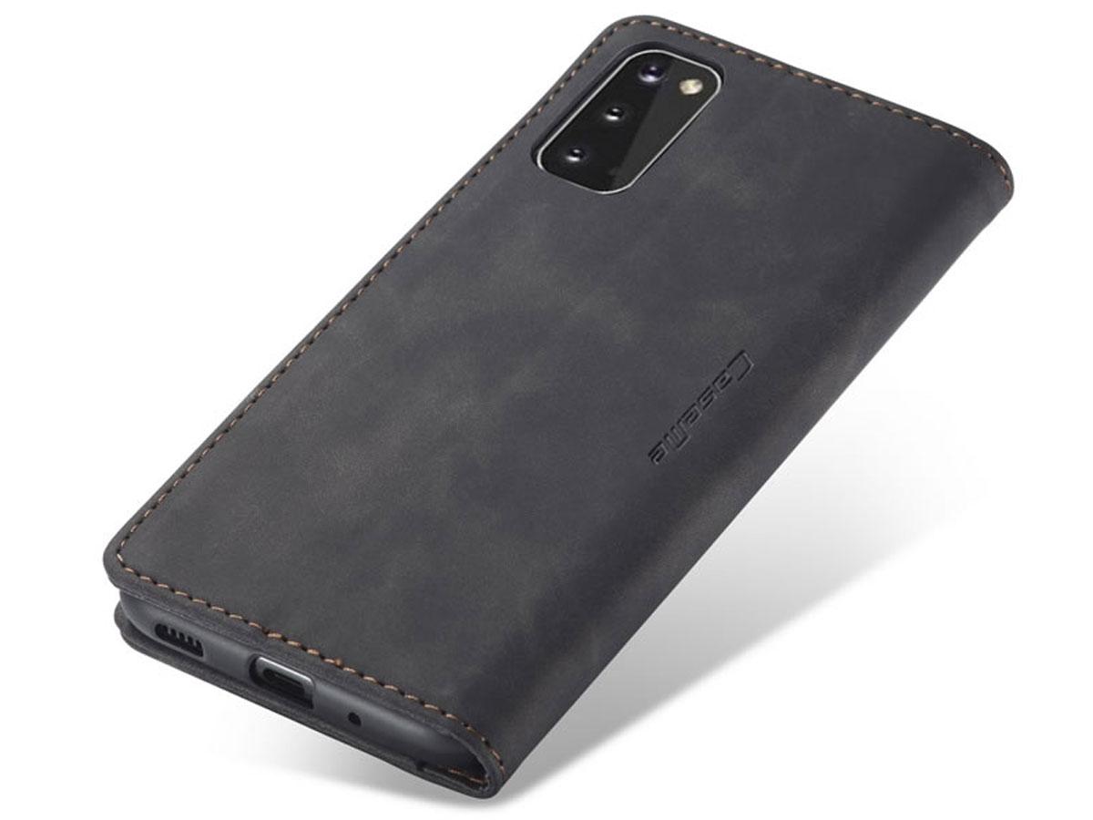 CaseMe Vintage BookCase Zwart - Samsung Galaxy S20 hoesje