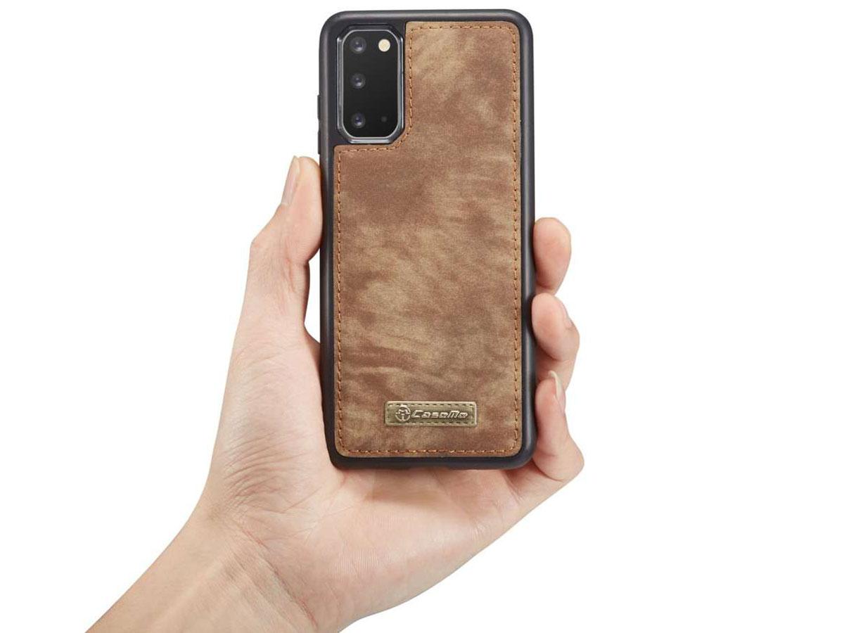 CaseMe 2in1 Wallet Ritsvak Case Bruin - Samsung Galaxy S20+ Hoesje