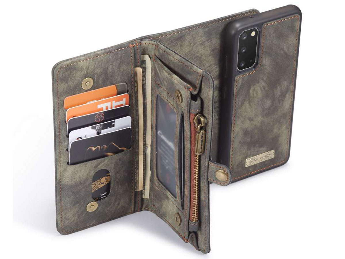 CaseMe 2in1 Wallet Ritsvak Case Zwart - Samsung Galaxy S20+ Hoesje