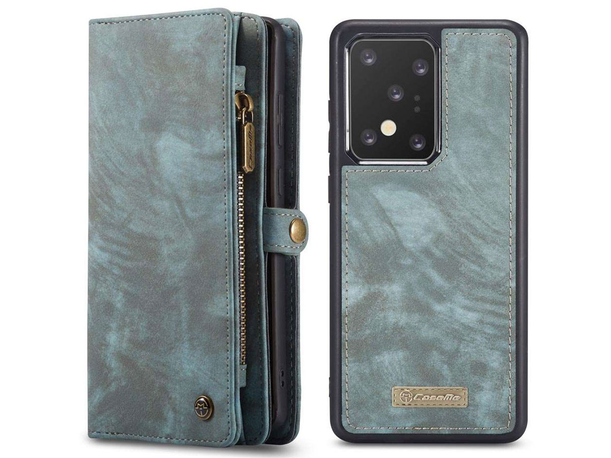 CaseMe 2in1 Wallet Ritsvak Case Blauw - Samsung Galaxy S20 Ultra Hoesje