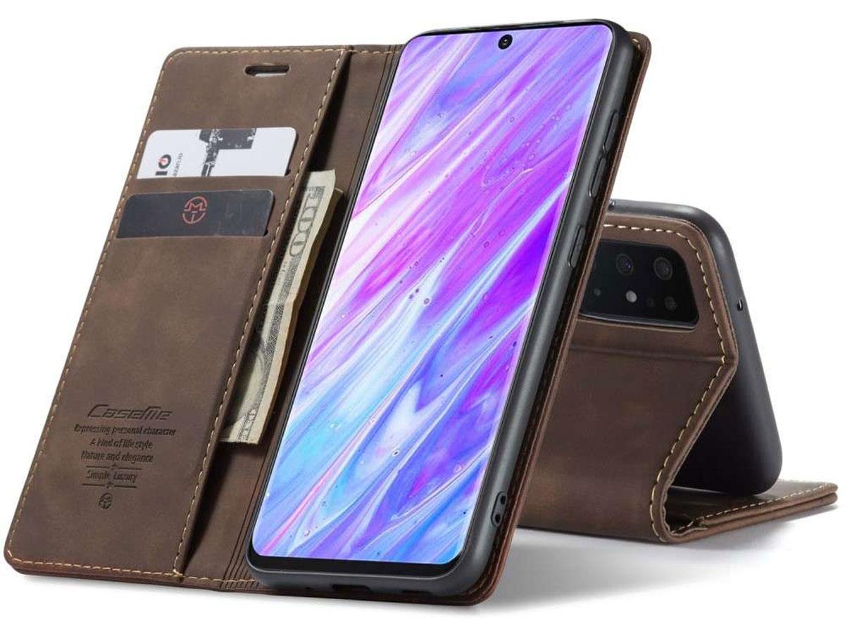 CaseMe Vintage BookCase Bruin - Samsung Galaxy S20 Ultra hoesje