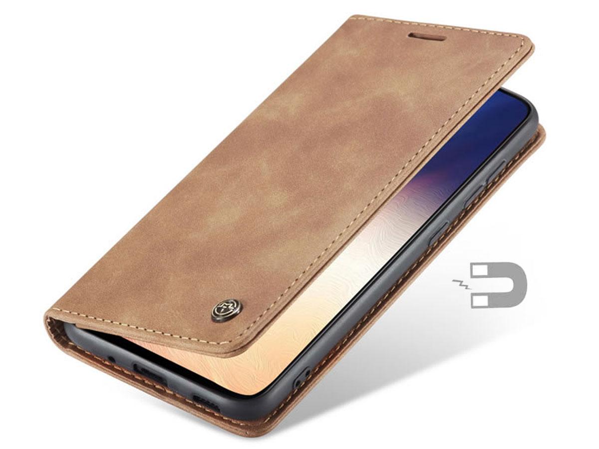 CaseMe Vintage BookCase Tan - Samsung Galaxy S20 Ultra hoesje