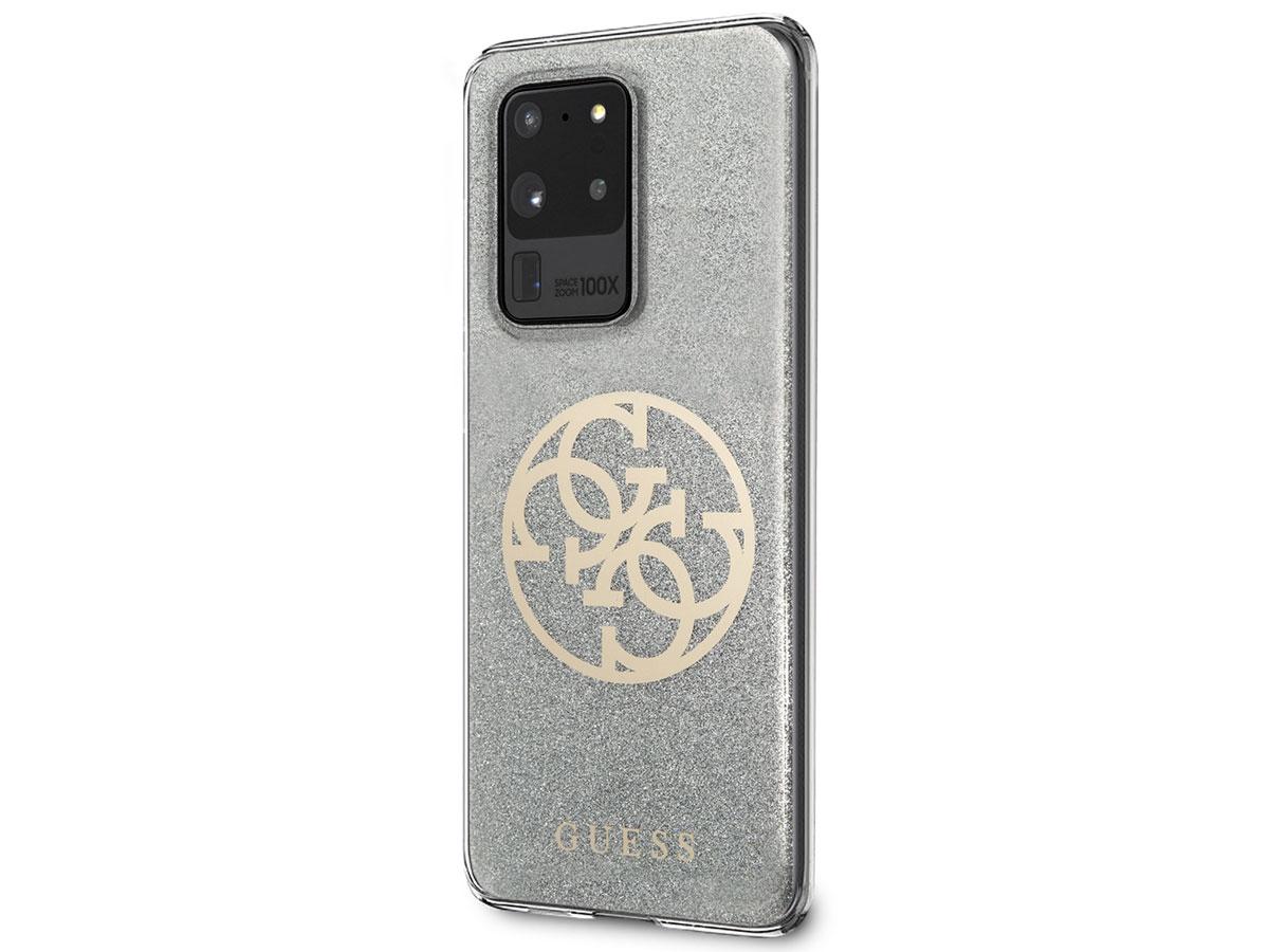 Guess 4G Glitter TPU Case Silver - Samsung Galaxy S20 Ultra hoesje