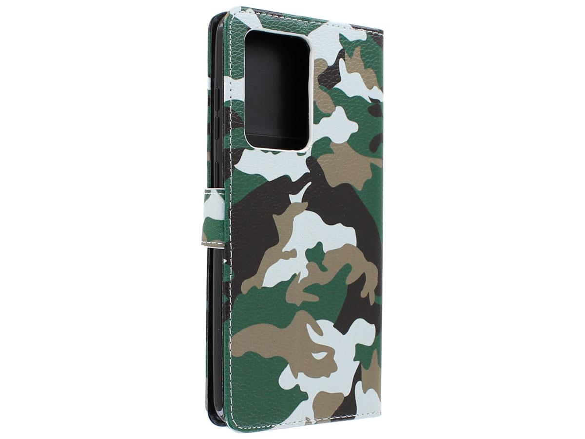 Book Case Mapje Camouflage - Samsung Galaxy S20 Plus hoesje