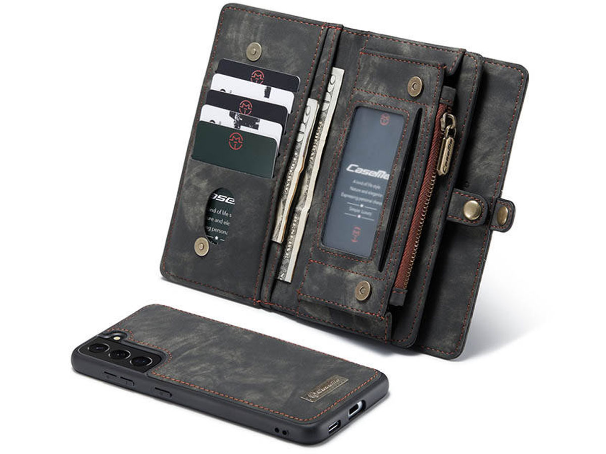 CaseMe 2in1 Wallet Ritsvak Case Zwart - Samsung Galaxy S21 Hoesje