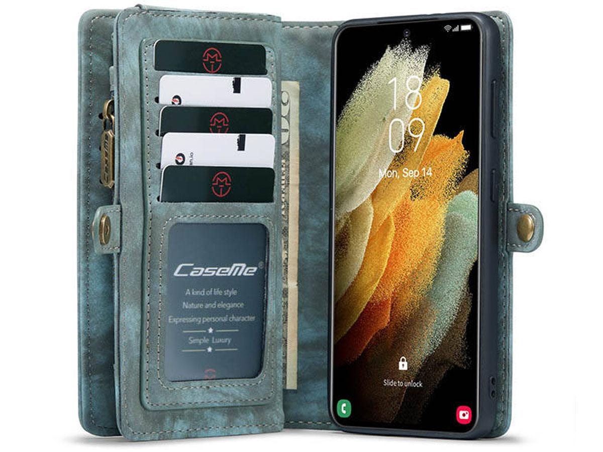 CaseMe 2in1 Wallet Ritsvak Case Blauw - Samsung Galaxy S21 Hoesje