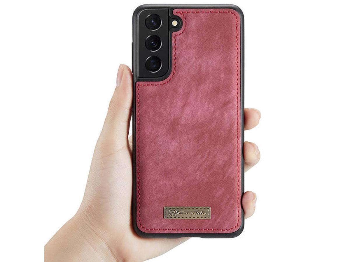 CaseMe 2in1 Wallet Ritsvak Case Rood - Samsung Galaxy S21 Hoesje