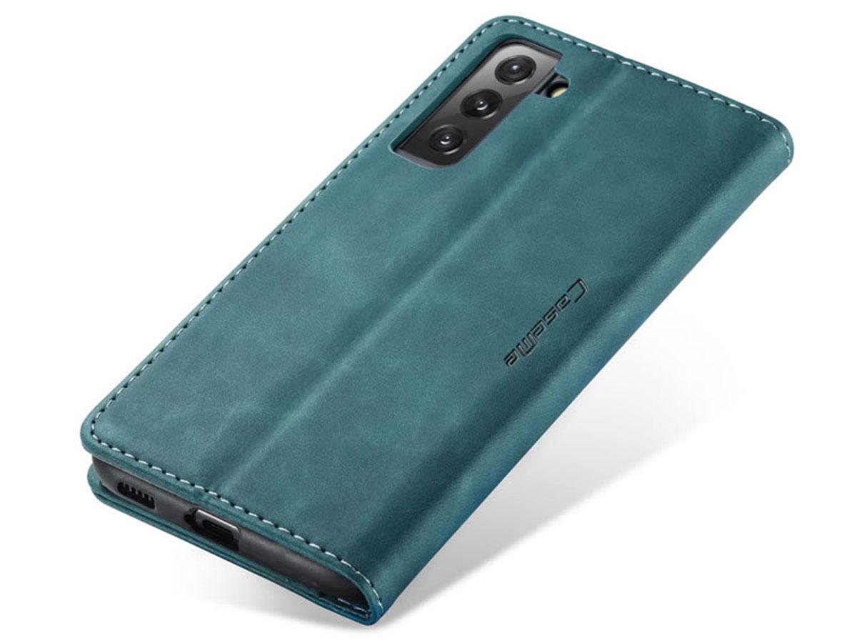 CaseMe Vintage BookCase Blauw - Samsung Galaxy S21 hoesje
