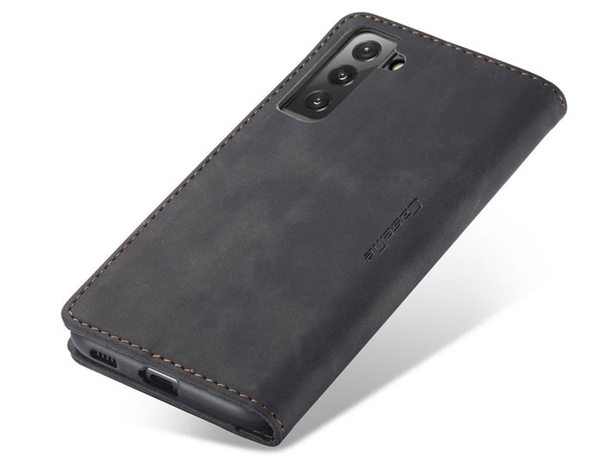 CaseMe Vintage BookCase Zwart - Samsung Galaxy S21 hoesje