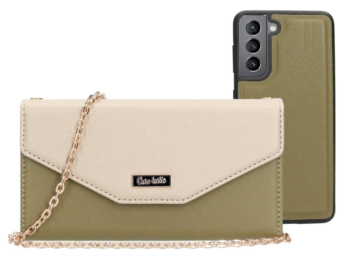 Casetastic Saffiano 2in1 Clutch Case Groen - Samsung Galaxy S21 hoesje