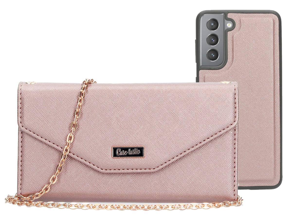 Casetastic Saffiano 2in1 Clutch Case Rose - Samsung Galaxy S21 hoesje Rose goud