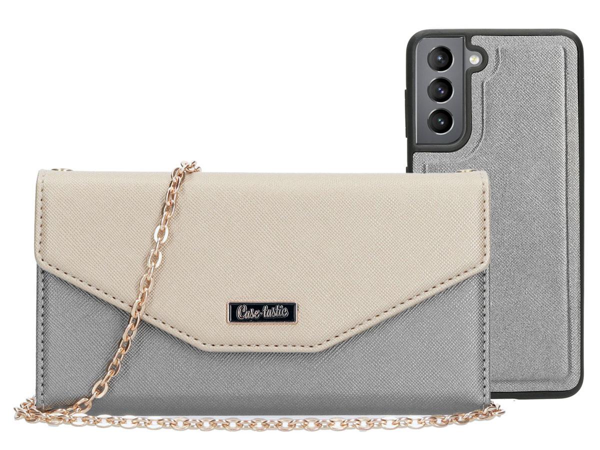 Casetastic Saffiano 2in1 Clutch Case Zilver - Samsung Galaxy S21 hoesje
