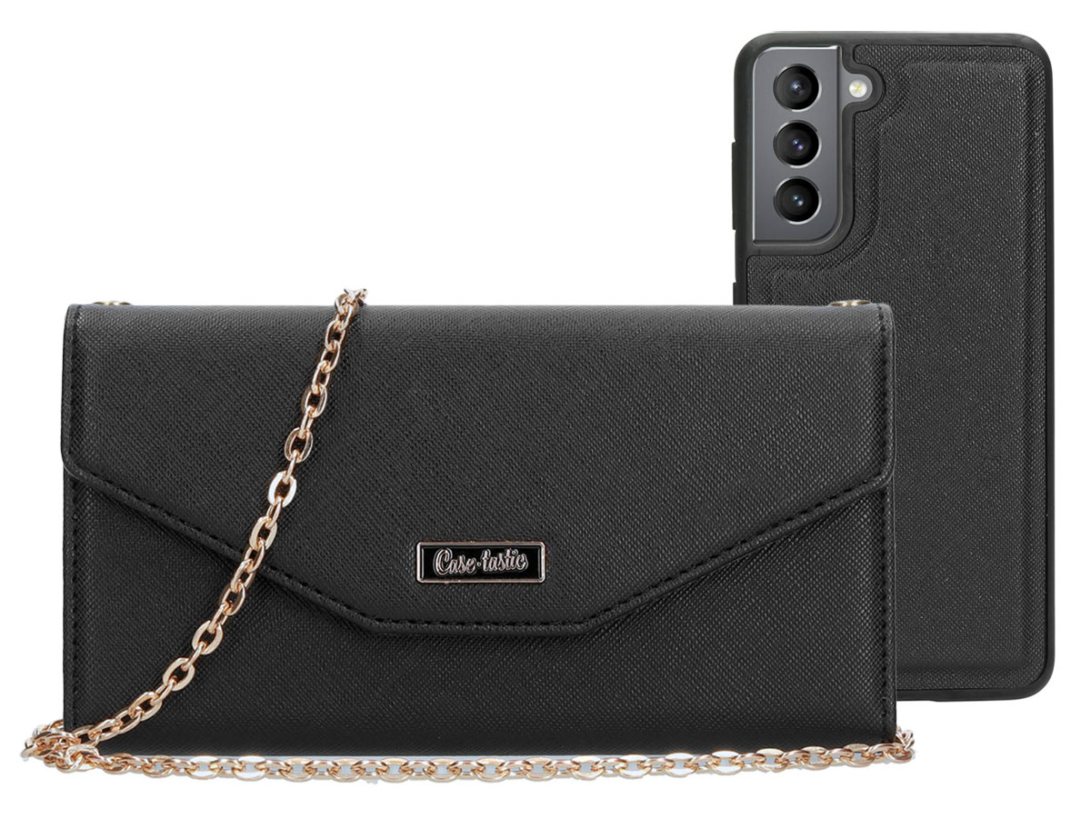 Casetastic Saffiano 2in1 Clutch Case Zwart - Samsung Galaxy S21 hoesje