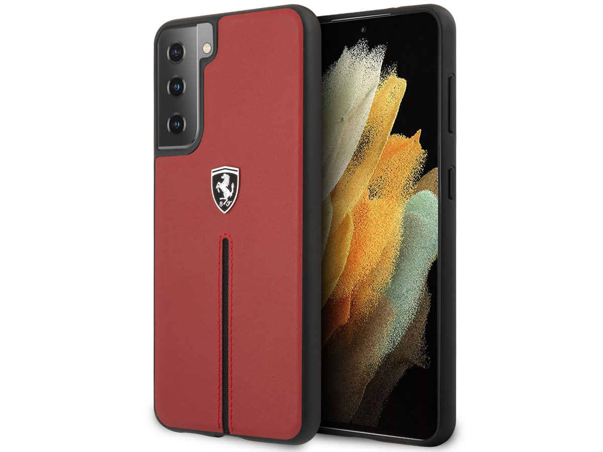 Ferrari Leather Case Rood - Samsung Galaxy S21 Hoesje