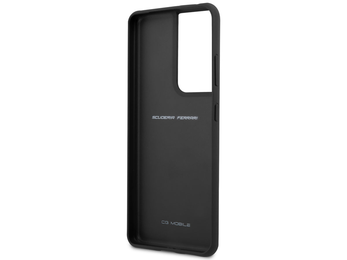 Ferrari Leather Case Zwart - Samsung Galaxy S21 Hoesje