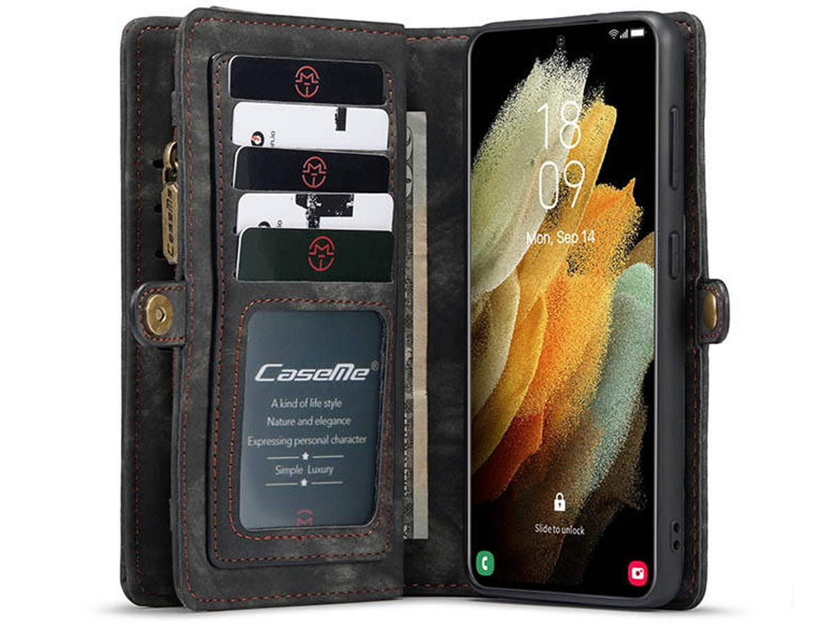 CaseMe 2in1 Wallet Ritsvak Case Zwart - Samsung Galaxy S21+ Hoesje