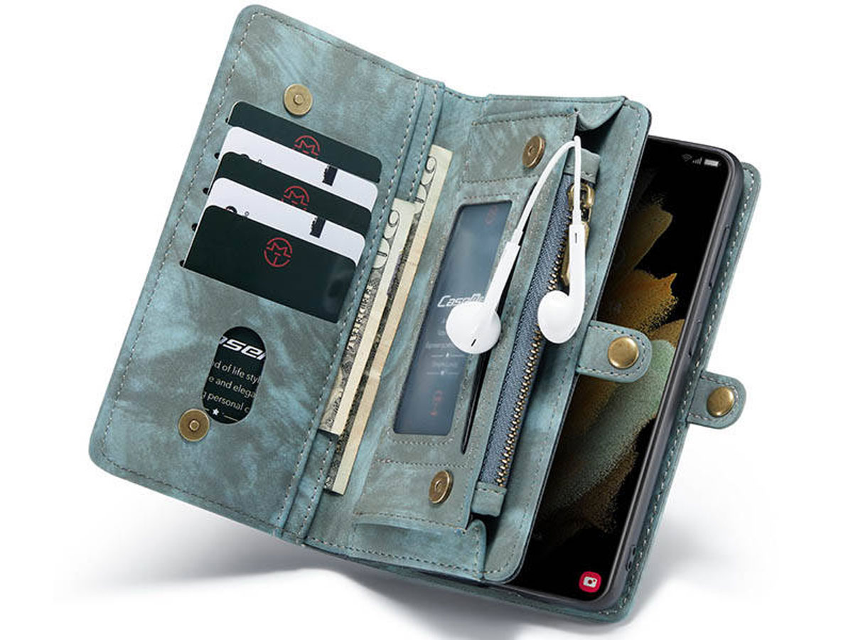 CaseMe 2in1 Wallet Ritsvak Case Blauw - Samsung Galaxy S21+ Hoesje