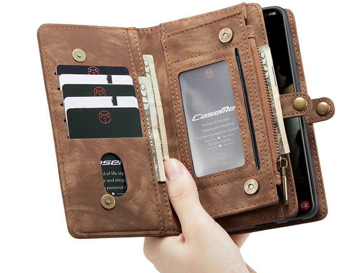 CaseMe 2in1 Wallet Ritsvak Case Bruin - Samsung Galaxy S21+ Hoesje