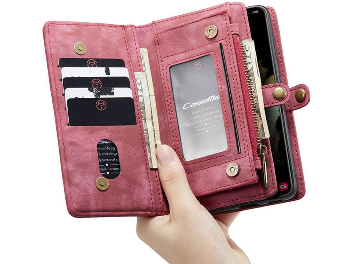 CaseMe 2in1 Wallet Ritsvak Case Rood - Samsung Galaxy S21+ Hoesje