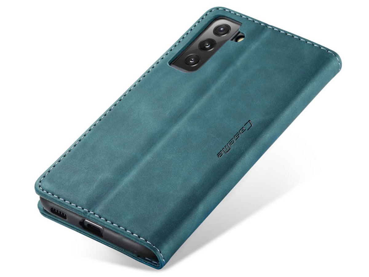 CaseMe Vintage BookCase Blauw - Samsung Galaxy S21+ hoesje