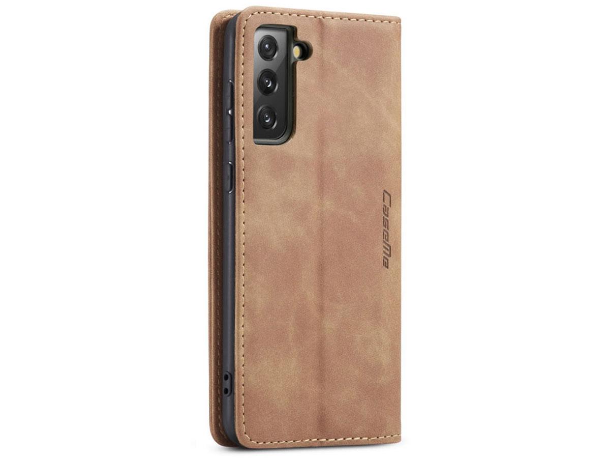 CaseMe Vintage BookCase Tan - Samsung Galaxy S21+ hoesje