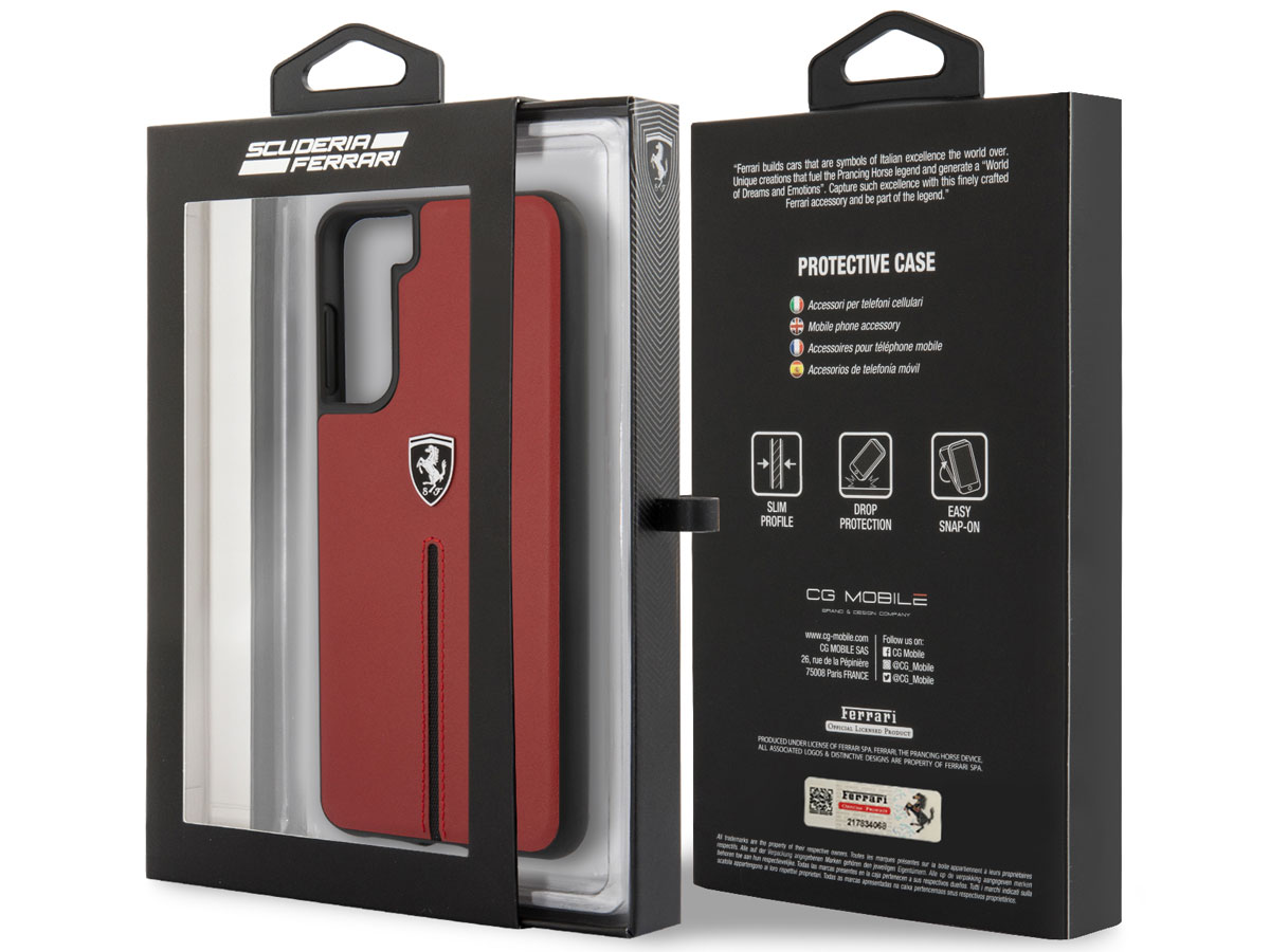 Ferrari Leather Case Rood - Samsung Galaxy S21+ Hoesje