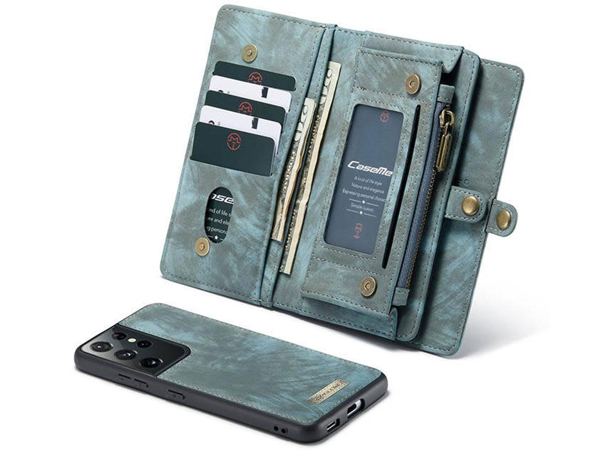 CaseMe 2in1 Wallet Ritsvak Case Blauw - Samsung Galaxy S21 Ultra Hoesje
