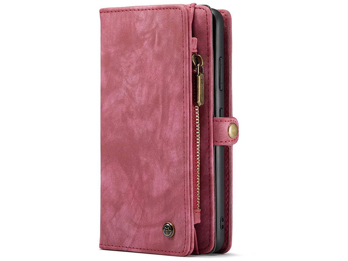 CaseMe 2in1 Wallet Ritsvak Case Rood - Samsung Galaxy S21 Ultra Hoesje