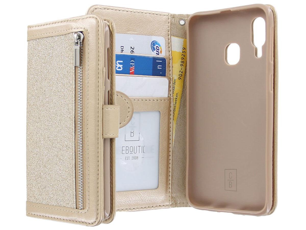 Glitsie Zip Case met Rits Goud - Samsung Galaxy A20e hoesje