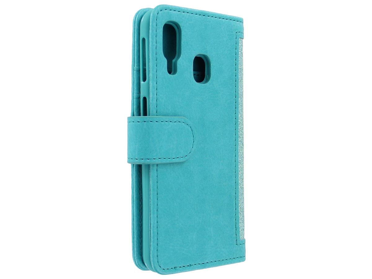 Glitsie Zip Case met Rits Turquoise - Samsung Galaxy A20e hoesje