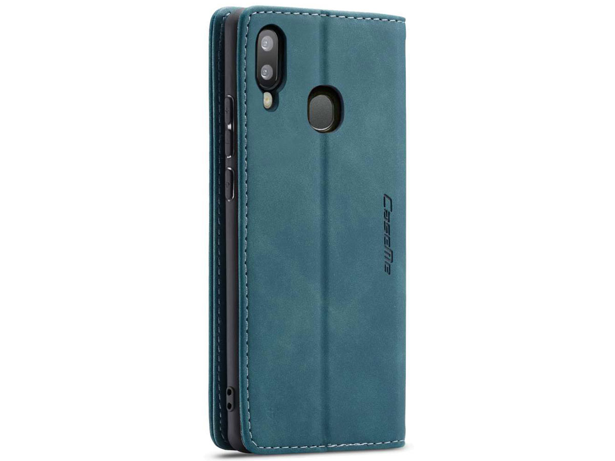 CaseMe Vintage BookCase Blauw - Samsung Galaxy A20e hoesje