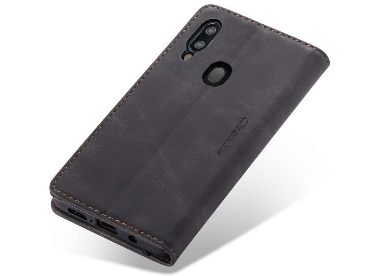 CaseMe Vintage BookCase Zwart - Samsung Galaxy A20e hoesje