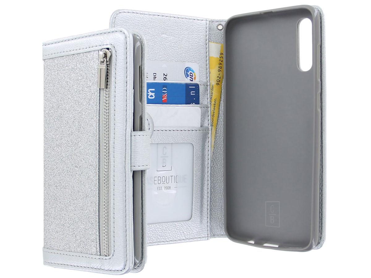 Glitsie Zip Case met Rits Zilver - Samsung Galaxy A50 hoesje