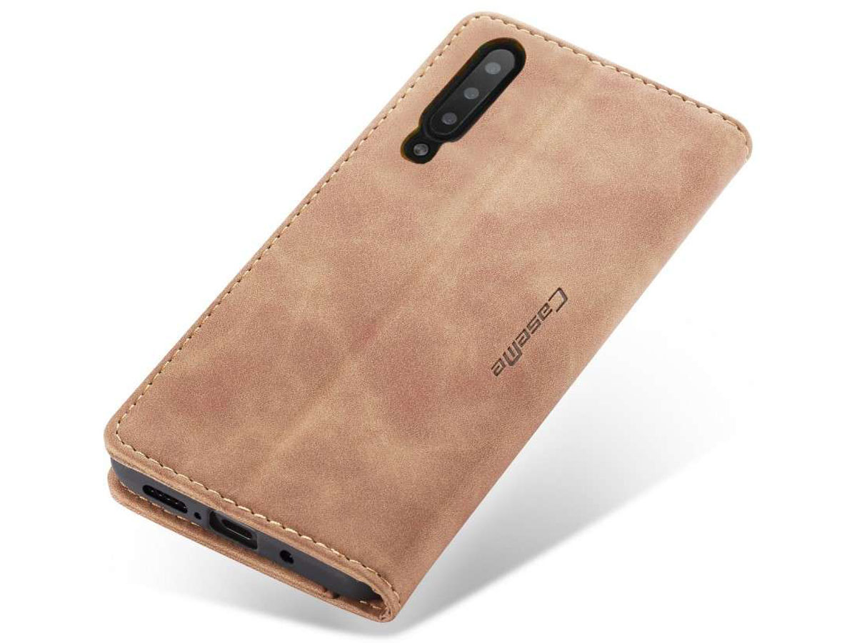 CaseMe Vintage BookCase Tan - Samsung Galaxy A50 hoesje