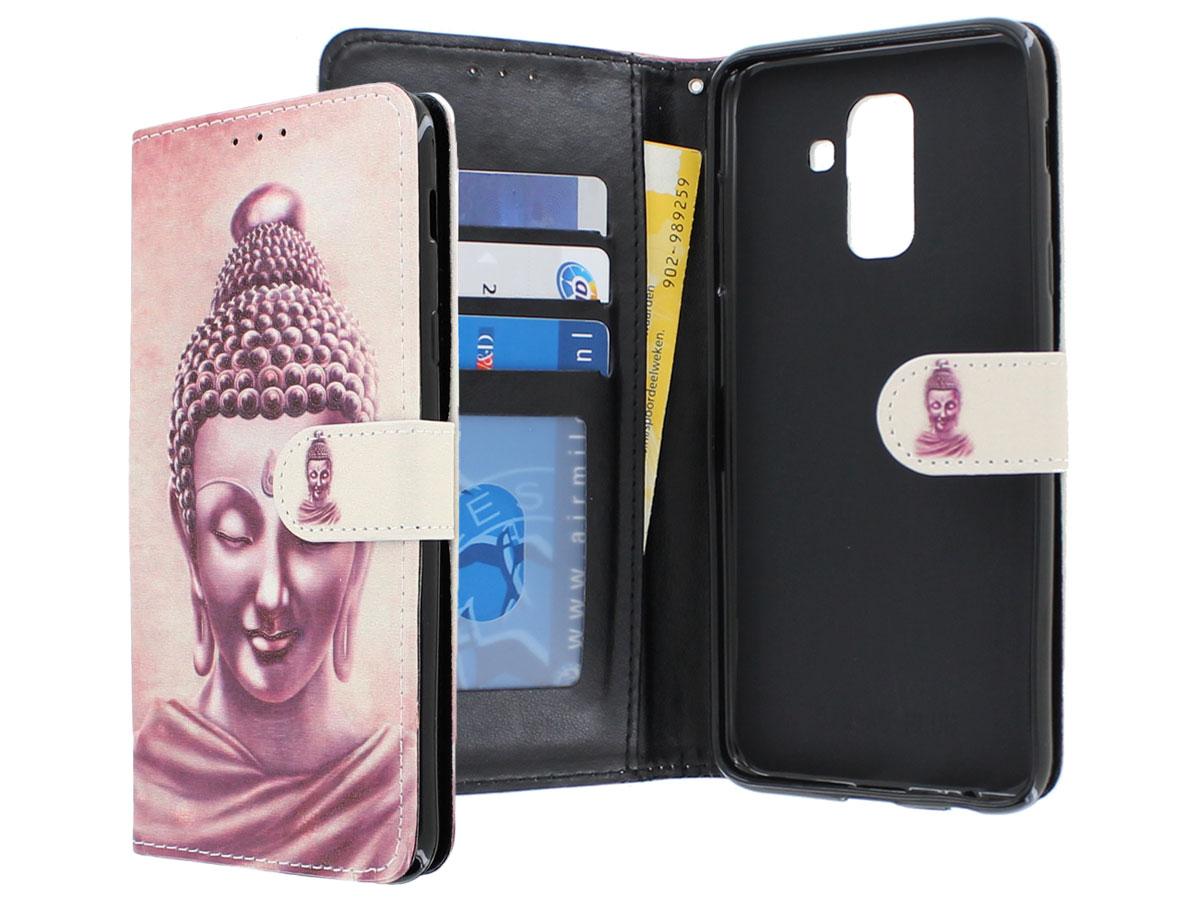 Boeddha Bookcase - Samsung Galaxy A6+ 2018 hoesje Boeddha print