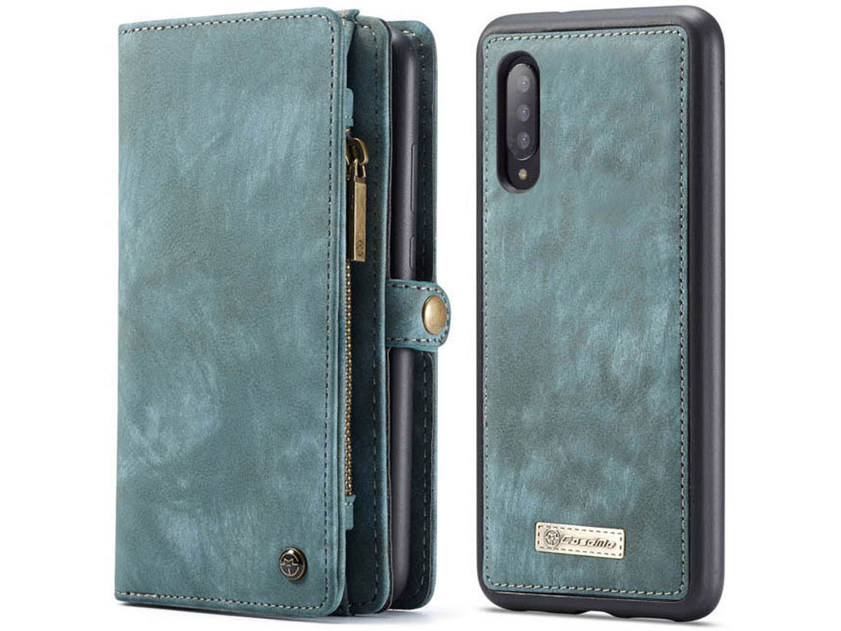 CaseMe 2in1 Wallet Ritsvak Case Blauw - Samsung Galaxy A70 Hoesje