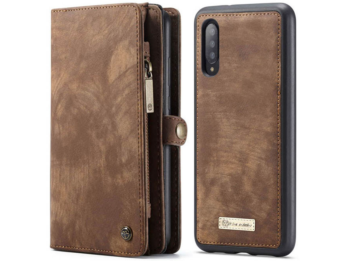 CaseMe 2in1 Wallet Ritsvak Case Bruin - Samsung Galaxy A70 Hoesje