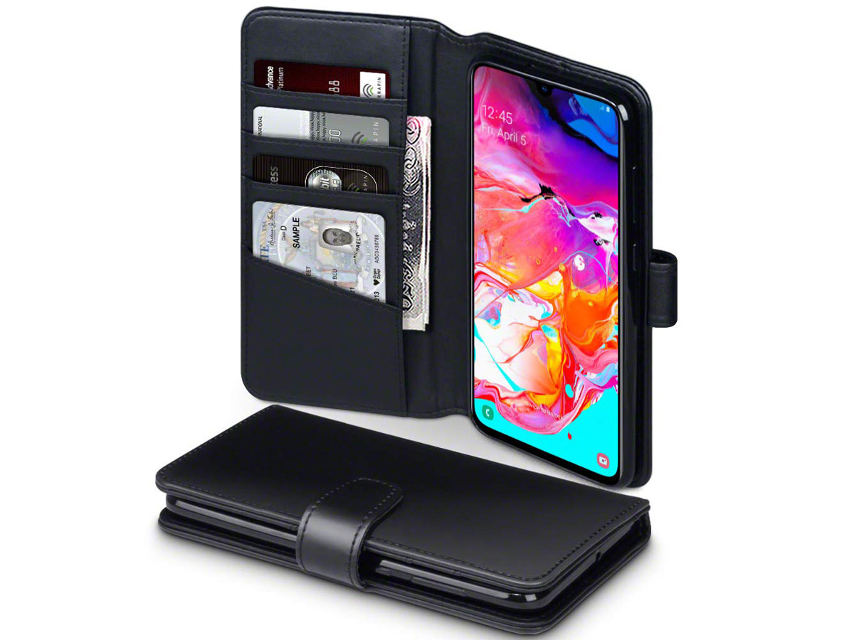 CaseBoutique Wallet Case Zwart Leer - Galaxy A70 hoesje