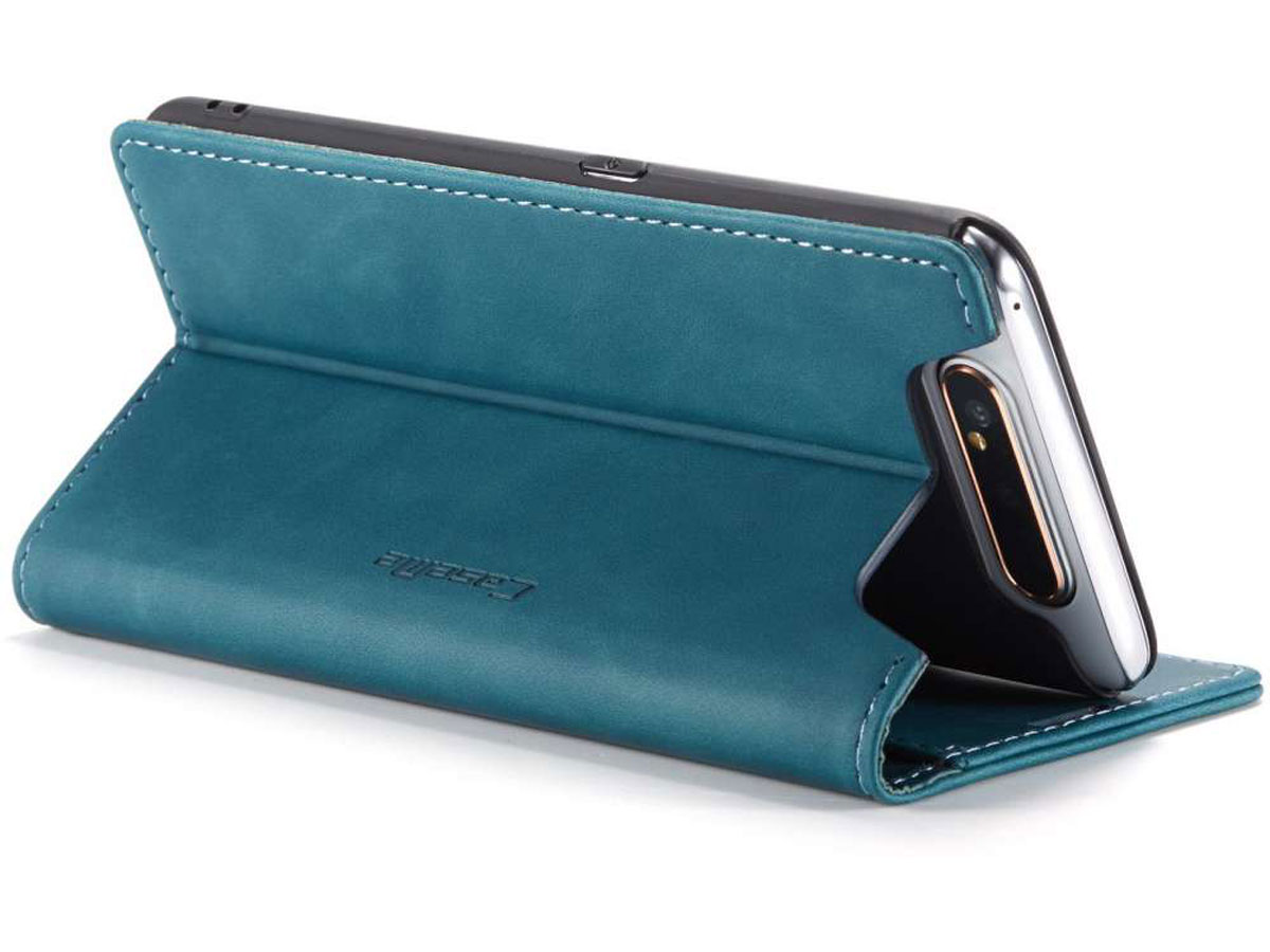 CaseMe Vintage BookCase Blauw - Samsung Galaxy A80 hoesje