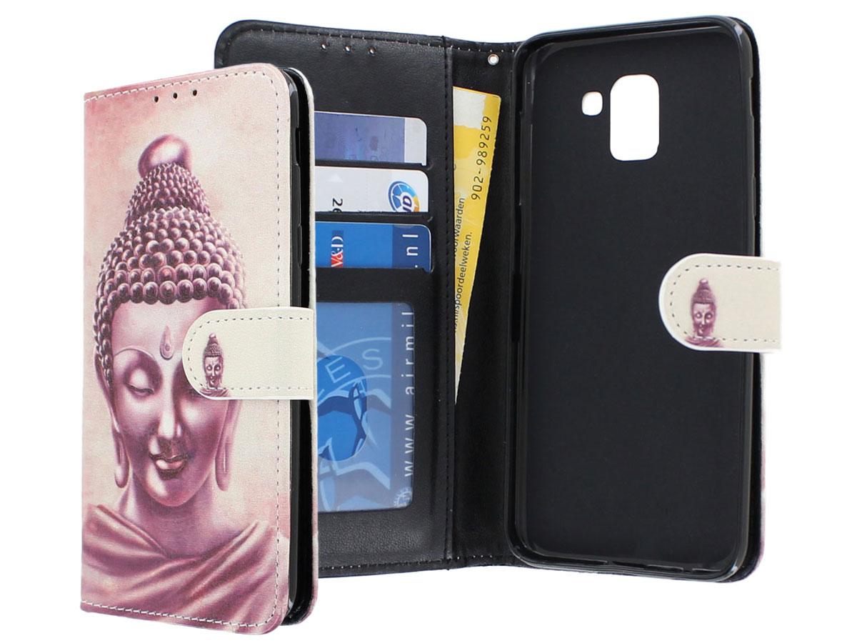 Boeddha Bookcase Wallet - Samsung Galaxy J6 2018 hoesje Boeddha print