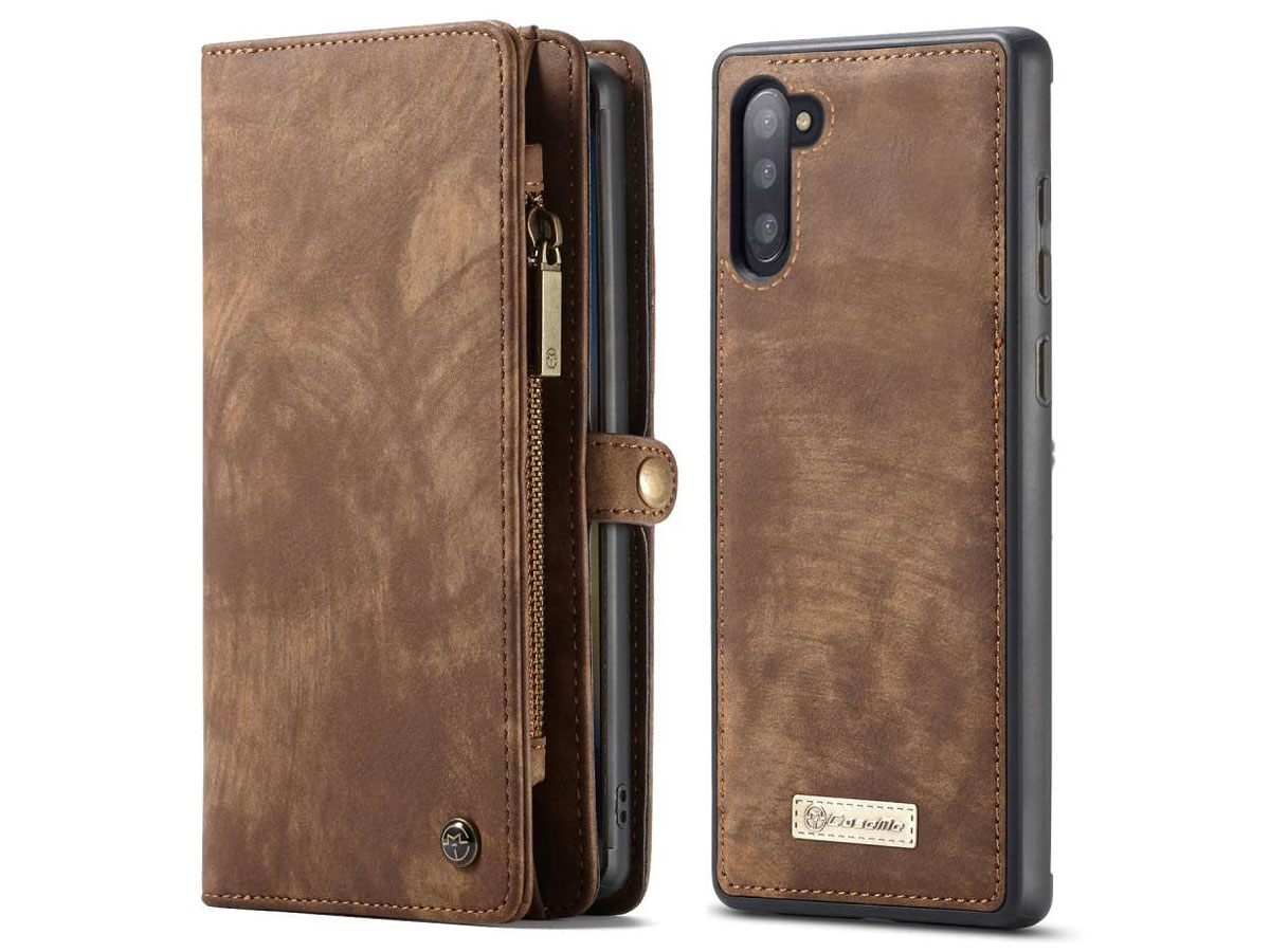 CaseMe 2in1 Wallet Ritsvak Case Bruin - Galaxy Note 10 Hoesje