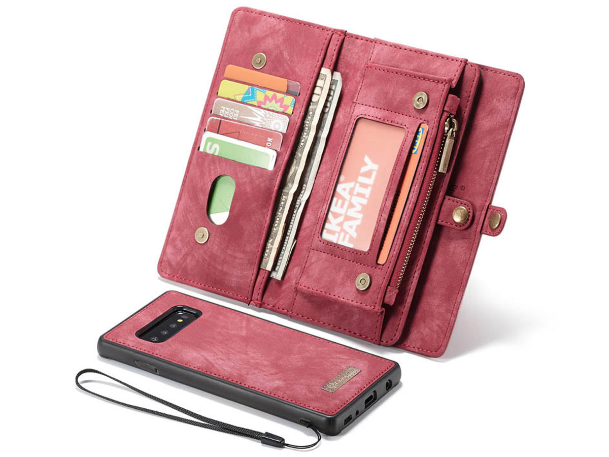 CaseMe 2in1 Wallet Ritsvak Case Rood - Samsung Galaxy S10 Hoesje
