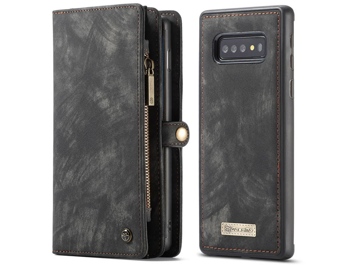 CaseMe 2in1 Wallet Ritsvak Case Zwart - Samsung Galaxy S10 Hoesje