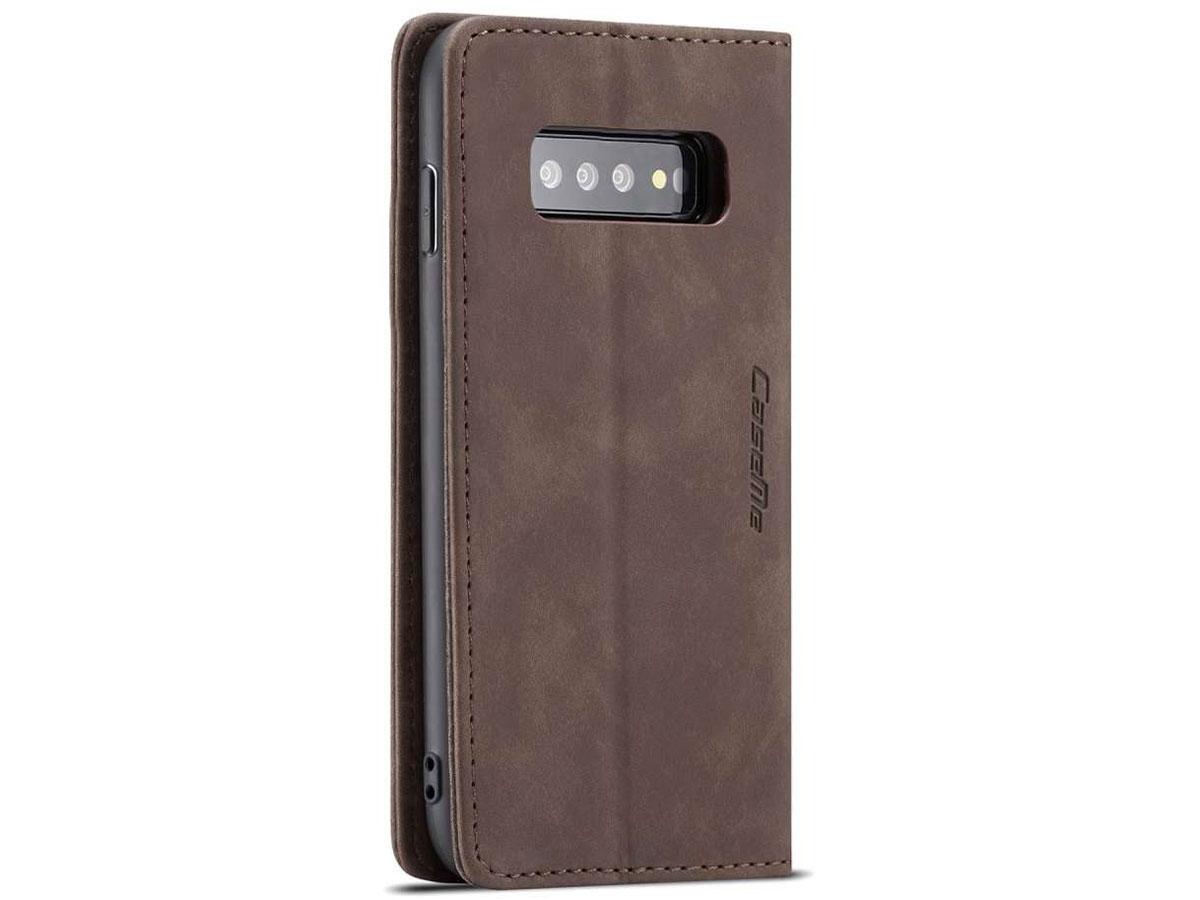 CaseMe Vintage BookCase Bruin - Samsung Galaxy S10 hoesje