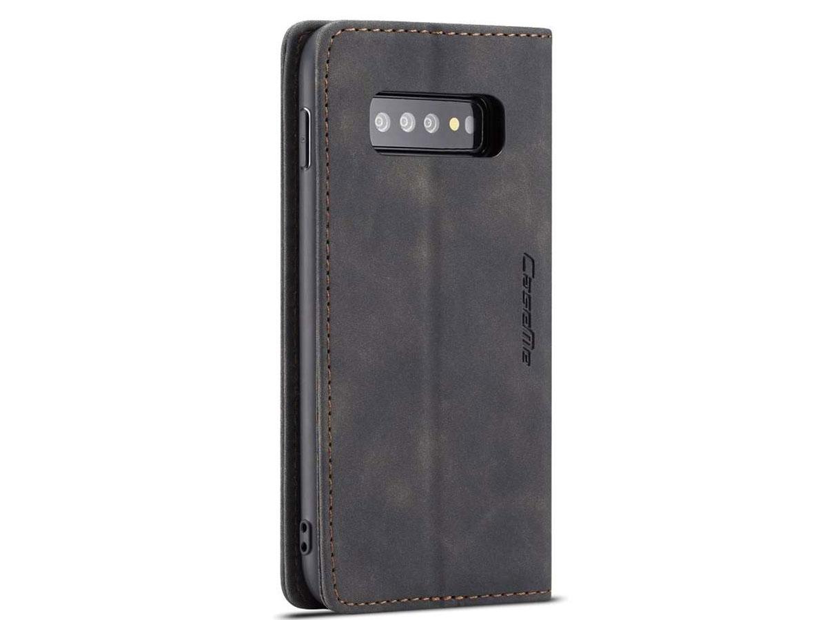 CaseMe Vintage BookCase Zwart - Samsung Galaxy S10 hoesje