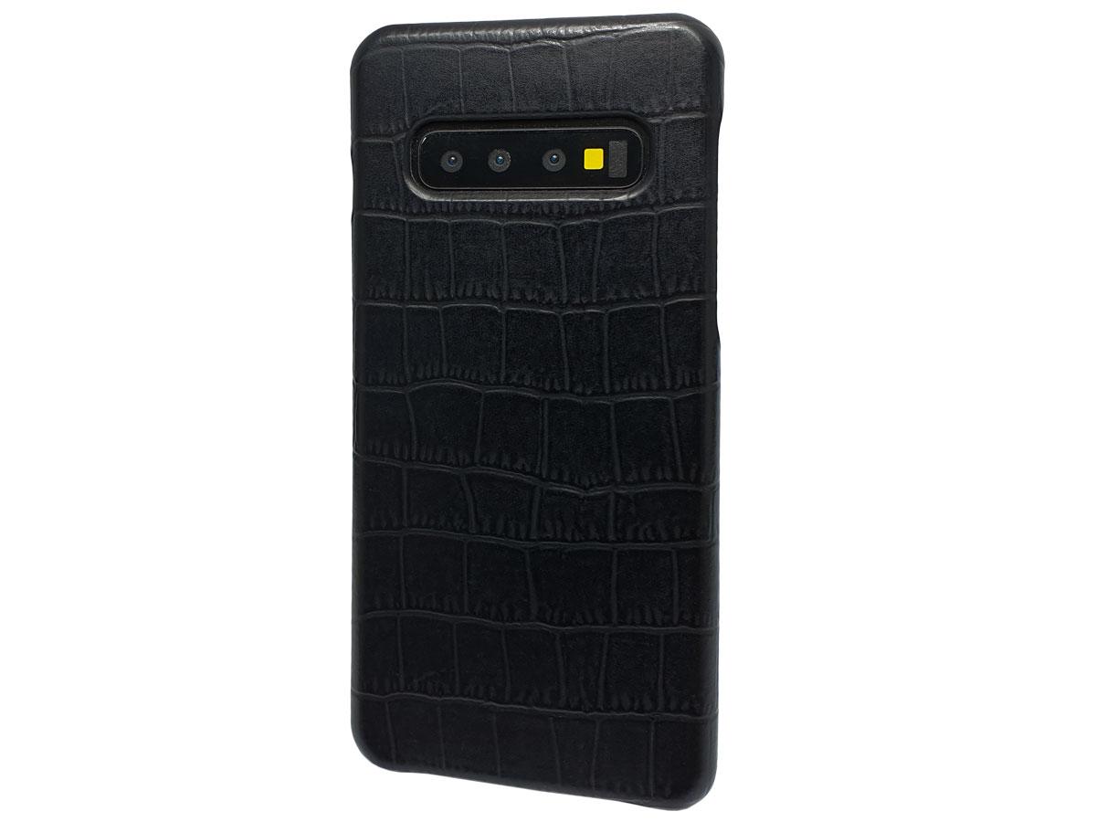 Graffi Cover Croco Zwart Leer - Samsung Galaxy S10 hoesje Zwart (Croco)