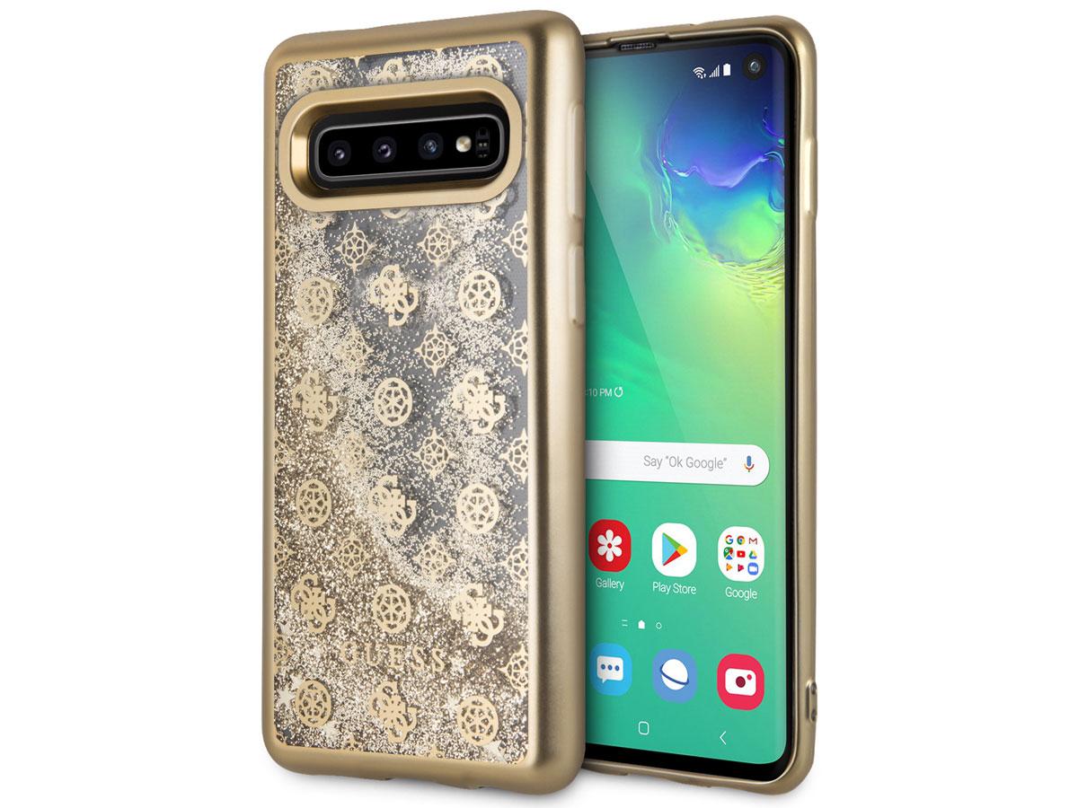 Guess Monogram Liquid Glitter Case - Samsung Galaxy S10 hoesje Goud