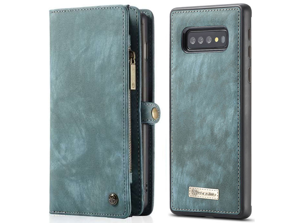 CaseMe 2in1 Wallet Ritsvak Case Blauw - Samsung Galaxy S10+ Hoesje